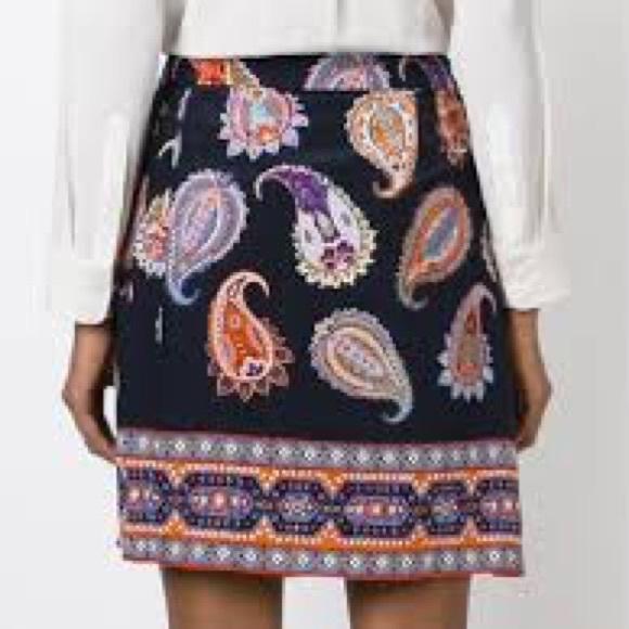 44d704d8d Tory Burch Skirts | Navy Paisley Dapper Pleated Skirt | Poshmark